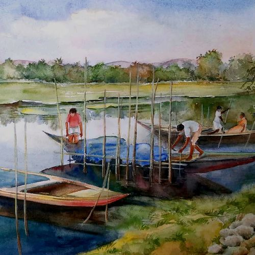 by the river bank, 16 x 11 inch, tapas paul,16x11inch,handmade paper,paintings,nature paintings,watercolor,GAL01146623690