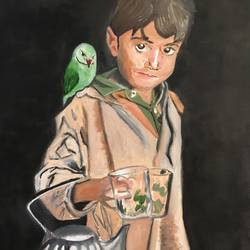 a poor kid holding teapot , 5 x 10 inch, maninder singh,5x10inch,canvas,paintings,kids paintings,oil color,GAL0754823696