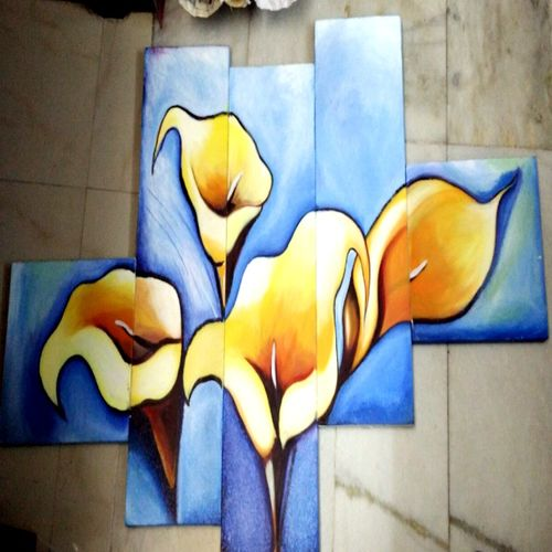 beautiful yellow flower, 58 x 33 inch, abhipsa das,flower paintings,paintings for living room,canvas,acrylic color,58x33inch,GAL0104237