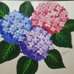 hydrangeas painting, 23 x 33 inch, nazia naqvi,23x33inch,drawing paper,flower paintings,paintings for dining room,paintings for living room,paintings for bedroom,paintings for kids room,paintings for hotel,paintings for dining room,paintings for living room,paintings for bedroom,paintings for kids room,paintings for hotel,fabric,poster color,GAL01358423701