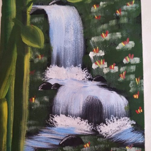 waterfall, 23 x 33 inch, nazia naqvi,23x33inch,drawing paper,paintings,wildlife paintings,flower paintings,landscape paintings,paintings for dining room,paintings for living room,paintings for bedroom,paintings for dining room,paintings for living room,paintings for bedroom,oil color,poster color,watercolor,GAL01358423707