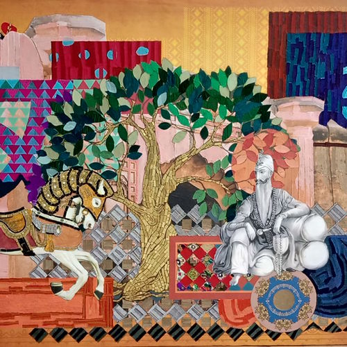 folk art, 69 x 44 inch, smiley chaudhary,69x44inch,canvas,paintings,abstract paintings,figurative paintings,folk art paintings,modern art paintings,illustration paintings,paintings for dining room,paintings for living room,paintings for office,paintings for hotel,mixed media,metal,GAL01229523709