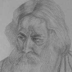 rabindranath thakur, 8 x 10 inch, puja nag,portrait paintings,paintings for dining room,paper,pencil color,8x10inch,GAL09192371