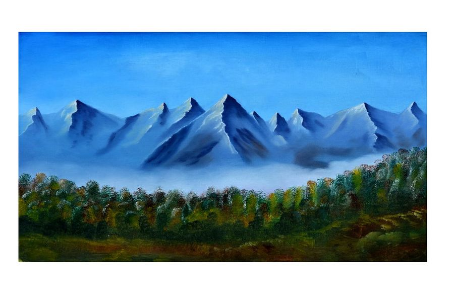 the mountain calling, 12 x 21 inch, abhilasha thackur,12x21inch,oil sheet,paintings,landscape paintings,paintings for dining room,paintings for living room,paintings for bedroom,paintings for office,paintings for bathroom,paintings for kids room,paintings for hotel,paintings for kitchen,paintings for school,paintings for hospital,oil color,GAL01363023713
