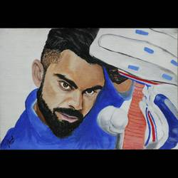 virat kohli, 12 x 8 inch, jayshree  laad,12x8inch,canvas,paintings,abstract paintings,modern art paintings,portrait paintings,abstract expressionism paintings,photorealism paintings,photorealism,portraiture,realism paintings,realistic paintings,paintings for dining room,paintings for living room,paintings for bedroom,paintings for office,paintings for bathroom,paintings for kids room,paintings for hotel,paintings for kitchen,paintings for school,paintings for hospital,acrylic color,GAL01315623718