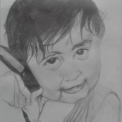 a child with mobile, 9 x 10 inch, puja nag,portraiture,paintings for living room,kids drawings,paper,pencil color,9x10inch,GAL09192372