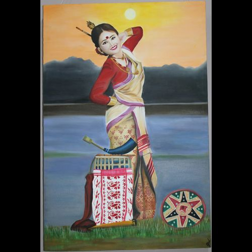 assamese bihu dance, 24 x 36 inch, jayshree  laad,24x36inch,canvas,paintings,folk art paintings,conceptual paintings,portrait paintings,art deco paintings,photorealism paintings,photorealism,portraiture,realistic paintings,paintings for dining room,paintings for living room,paintings for bedroom,paintings for office,paintings for bathroom,paintings for kids room,paintings for hotel,paintings for kitchen,paintings for school,paintings for hospital,oil color,GAL01315623721