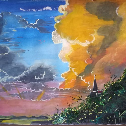 after sunset, 12 x 8 inch, chandrani das,12x8inch,drawing paper,paintings,landscape paintings,nature paintings,paintings for dining room,paintings for living room,paintings for bedroom,paintings for office,paintings for hotel,paintings for hospital,watercolor,GAL01316923735