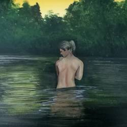 river bath, 16 x 11 inch, vijay pratap,16x11inch,thick paper,paintings,figurative paintings,landscape paintings,modern art paintings,nature paintings,realism paintings,contemporary paintings,realistic paintings,love paintings,paintings for living room,paintings for bedroom,paintings for bathroom,paintings for hotel,acrylic color,GAL0443623736