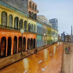 havana streets, 16 x 11 inch, vijay pratap,16x11inch,renaissance watercolor paper,paintings,cityscape paintings,modern art paintings,art deco paintings,street art,realistic paintings,paintings for living room,paintings for office,paintings for hotel,paintings for school,watercolor,GAL0443623738