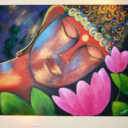 reclining buddha, 48 x 30 inch, sreekala prakash,48x30inch,canvas,buddha paintings,conceptual paintings,paintings for living room,paintings for living room,acrylic color,GAL01365423741