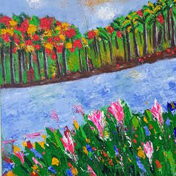 scenery of a river , 24 x 30 inch, sreekala prakash,24x30inch,canvas,paintings,landscape paintings,paintings for dining room,paintings for living room,acrylic color,GAL01365423746