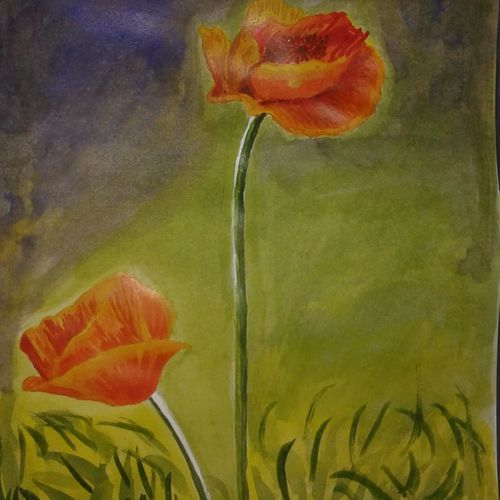 jungle flower, 8 x 12 inch, puja nag,paintings for dining room,flower paintings,paper,acrylic color,8x12inch,GAL09192375