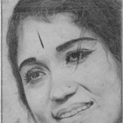 actress sowcar janaki, 8 x 12 inch, john bosco mary,8x12inch,paper,drawings,portrait drawings,realism drawings,surrealism drawings,graphite pencil,GAL01232323755