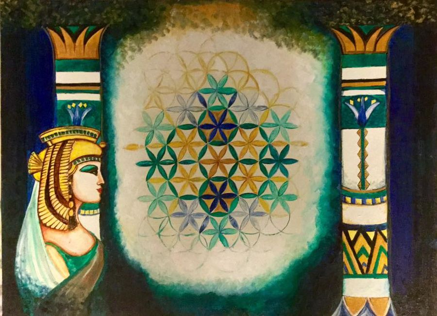 flower of life, 30 x 22 inch, lavanya venkatesh,conceptual paintings,paintings for living room,paintings for office,canvas,oil,30x22inch,GAL01172376