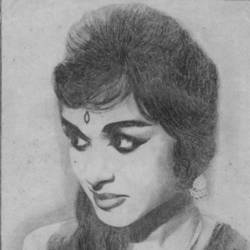 actress saroja devi, 8 x 12 inch, john bosco mary,8x12inch,paper,drawings,photorealism drawings,realism drawings,surrealism drawings,graphite pencil,GAL01232323760