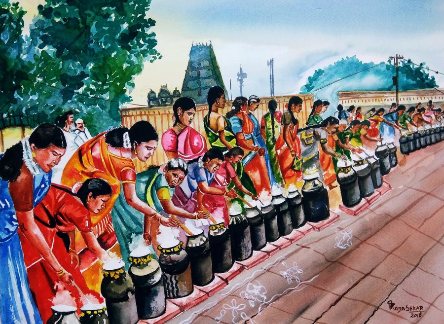 village festival , 19 x 14 inch, rajasekar r,19x14inch,fabriano sheet,paintings,religious paintings,still life paintings,paintings for dining room,paintings for living room,paintings for bedroom,paintings for hotel,watercolor,GAL01366123774