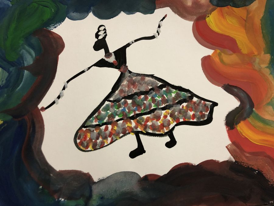 dancing lady, 8 x 6 inch, divya s,8x6inch,handmade paper,paintings,warli paintings,paintings for living room,paintings for kids room,poster color,watercolor,paper,GAL01369223784