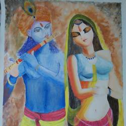 radha krishna, 27 x 44 inch, vineeta  singh,27x44inch,canvas,paintings,abstract paintings,figurative paintings,religious paintings,radha krishna paintings,acrylic color,GAL01238823785