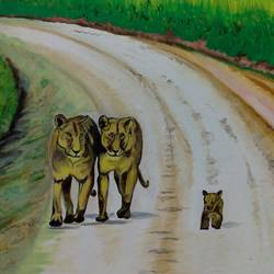 parents lion and baby cub, 24 x 18 inch, ghanshyam  singh,24x18inch,canvas,paintings,wildlife paintings,landscape paintings,nature paintings,animal paintings,realistic paintings,paintings for dining room,paintings for living room,paintings for hotel,paintings for school,oil color,GAL01361323812
