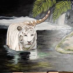 white beauty in dark, 48 x 36 inch, ghanshyam  singh,48x36inch,canvas,paintings,wildlife paintings,figurative paintings,landscape paintings,nature paintings,animal paintings,paintings for dining room,paintings for living room,paintings for office,paintings for hotel,paintings for school,oil color,GAL01361323815,tiger,white,water,pride of the jungle,leaves