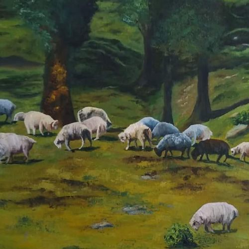 sheeps, in the himalayas, 24 x 18 inch, madhavi shah,24x18inch,canvas board,paintings,landscape paintings,nature paintings,photorealism,realistic paintings,paintings for living room,oil color,GAL01371223826