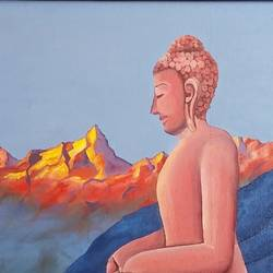 buddha, in the himalayas, 24 x 18 inch, madhavi shah,24x18inch,canvas board,paintings,buddha paintings,conceptual paintings,paintings for dining room,paintings for living room,paintings for bedroom,paintings for office,paintings for hotel,paintings for school,oil color,GAL01371223827