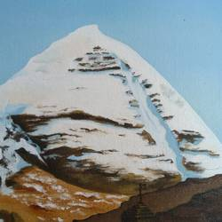 mount kailash, 8 x 10 inch, madhavi shah,8x10inch,canvas board,paintings,landscape paintings,religious paintings,nature paintings,realistic paintings,paintings for living room,paintings for office,paintings for hotel,oil color,GAL01371223828