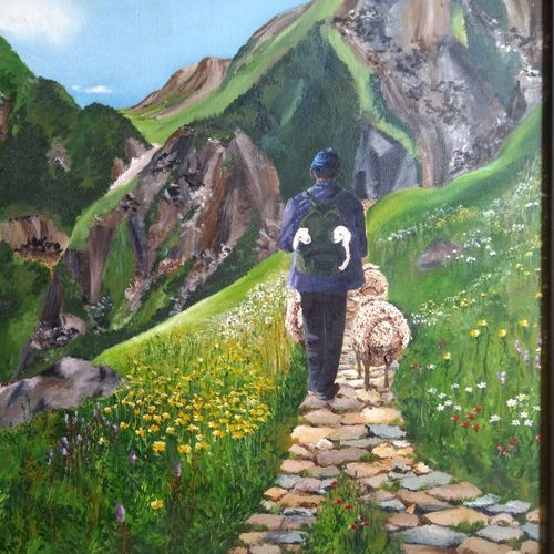 shepherd, in the himalayas, 24 x 20 inch, madhavi shah,24x20inch,canvas board,paintings,flower paintings,landscape paintings,nature paintings,paintings for dining room,paintings for living room,paintings for hotel,paintings for school,oil color,GAL01371223830