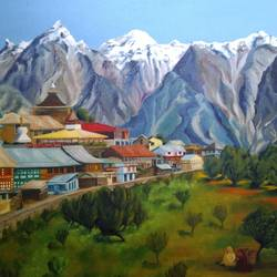 kalpa village,in the himalayas, 24 x 18 inch, madhavi shah,24x18inch,canvas board,paintings,landscape paintings,nature paintings,paintings for dining room,paintings for living room,paintings for office,paintings for hotel,paintings for school,oil color,GAL01371223831