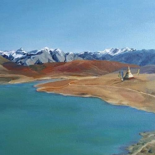lake in spiti valley, 24 x 18 inch, madhavi shah,24x18inch,canvas board,paintings,landscape paintings,nature paintings,paintings for dining room,paintings for living room,paintings for bedroom,paintings for office,paintings for hotel,paintings for school,oil color,GAL01371223832
