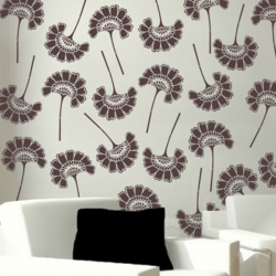 wall stencil:trendy flower stencils, 1 stencils (size 12x18 inches) | reusable | diy, 12 x 12 inch, wall stencil designs,12x12inch,ohp plastic sheets,flower designs,plastic,GAL0123833,ABS-21