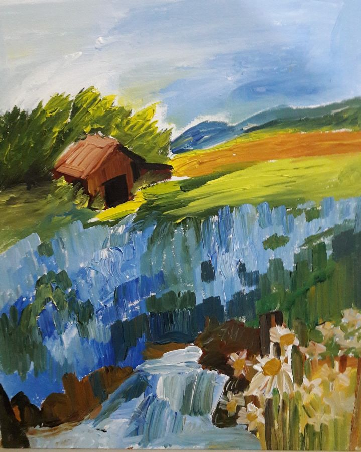 in fields of blue flowers , 22 x 24 inch, ratul banerjee,22x24inch,canvas,paintings,landscape paintings,nature paintings,paintings for living room,paintings for bedroom,paintings for office,paintings for kids room,paintings for hotel,paintings for kitchen,paintings for school,acrylic color,GAL0356423835