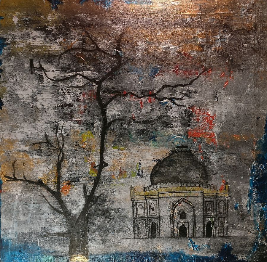 the solitude, 36 x 36 inch, nishant mishra,36x36inch,canvas,paintings,abstract expressionism paintings,contemporary paintings,paintings for dining room,paintings for living room,paintings for office,paintings for hotel,acrylic color,charcoal,GAL0538623839