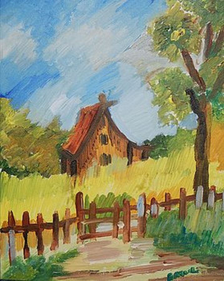 the beautiful farmhouse, 12 x 16 inch, ratul banerjee,12x16inch,canvas,paintings,landscape paintings,nature paintings,paintings for living room,paintings for bedroom,paintings for office,paintings for kids room,paintings for hotel,paintings for kitchen,paintings for school,acrylic color,GAL0356423840
