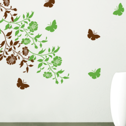 wall stencil: beautiful butterfly design wall stencil , 2 stencil (size 18x24, 6x8 inches) | reusable | diy, 12 x 12 inch, wall stencil designs,12x12inch,ohp plastic sheets,flower designs,plastic,GAL0123858,ASB-03