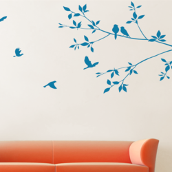 wall stencil: glossy nature birds design wall stencil , 8 pieces of stencil (size 14x24 inches) | reusable | diy, 12 x 12 inch, wall stencil designs,12x12inch,ohp plastic sheets,flower designs,plastic,GAL0123859,ASB-04