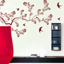 wall stencil: nature leaf design wall stencil , 9 pieces of stencil (size 80x41 inches) | reusable | diy, 12 x 12 inch, wall stencil designs,12x12inch,ohp plastic sheets,flower designs,plastic,GAL0123860,ASB-05
