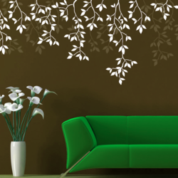 wall stencil: glossy leaf design wall stencil , 3 pieces of stencil (size 17x23 inches) | reusable | diy, 17 x 23 inch, wall stencil designs,17x23inch,ohp plastic sheets,flower designs,plastic,GAL0123864,ASB-09