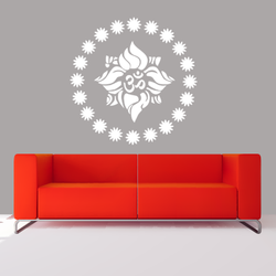 wall stencil: morden om symbol wall stencil design for home and office,2 pieces of stencils (size 18x8, 6x6 inches) | reusable | diy, 18 x 18 inch, wall stencil designs,18x18inch,ohp plastic sheets,flower designs,plastic,GAL0123866,ASB-15