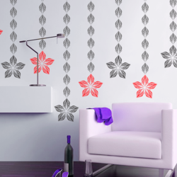 wall stencil: morden small leaf design wall stencil , 2 stencil (size 5x8 inches) | reusable | diy, 5 x 8 inch, wall stencil designs,5x8inch,ohp plastic sheets,flower designs,plastic,GAL0123876,ASB-117