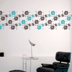 wall stencil: glossy flower design wall stencil , 1 stencil (size 12x9 inches) | reusable | diy, 12 x 9 inch, wall stencil designs,12x9inch,ohp plastic sheets,flower designs,plastic,GAL0123878,ASB-123