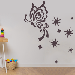 wall stencil: morden butterfly design wall stencil , 5 pieces  stencil (size 22x30 inches) | reusable | diy, 22 x 30 inch, wall stencil designs,22x30inch,ohp plastic sheets,flower designs,plastic,GAL0123879,ASB-33