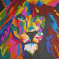 colorful lion, 11 x 14 inch, gerald jerry,11x14inch,drawing paper,animal paintings,paintings for living room,paintings for kids room,paintings for living room,paintings for kids room,ink color,GAL01251823880