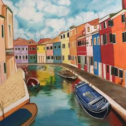 the colourful city of venice , 36 x 30 inch, navreet  kaur ,36x30inch,canvas,paintings,cityscape paintings,oil color,GAL0941523884