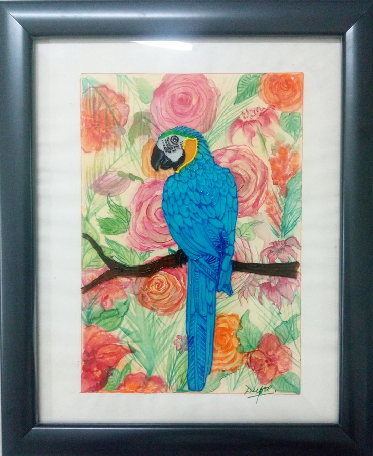 blue macaw, 8 x 10 inch, deepti agrawal,8x10inch,acrylic glass,paintings,wildlife paintings,flower paintings,modern art paintings,nature paintings,animal paintings,paintings for dining room,paintings for living room,paintings for bedroom,paintings for office,paintings for bathroom,paintings for kids room,paintings for hotel,paintings for kitchen,paintings for school,paintings for hospital,mixed media,watercolor,glass,GAL0596823887