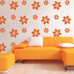 wall stencil: flower design wall stencil , 2 pieces of stencil (size 11x11, 7x7 inches) | reusable | diy, 11 x 11 inch, wall stencil designs,11x11inch,ohp plastic sheets,flower designs,plastic,GAL0123897,ASB-199