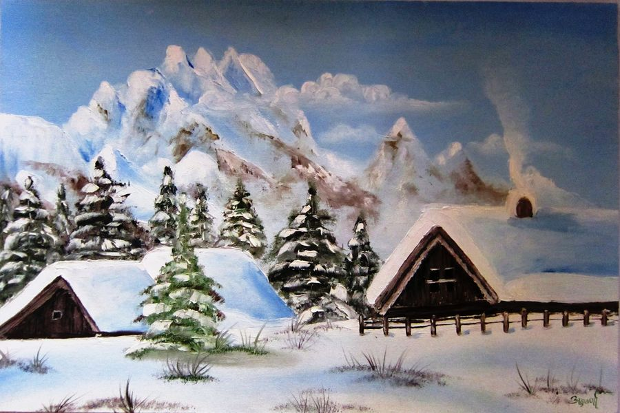 snow house, 14 x 24 inch, aparna warade,landscape paintings,paintings for living room,canvas,oil,14x24inch,GAL089239