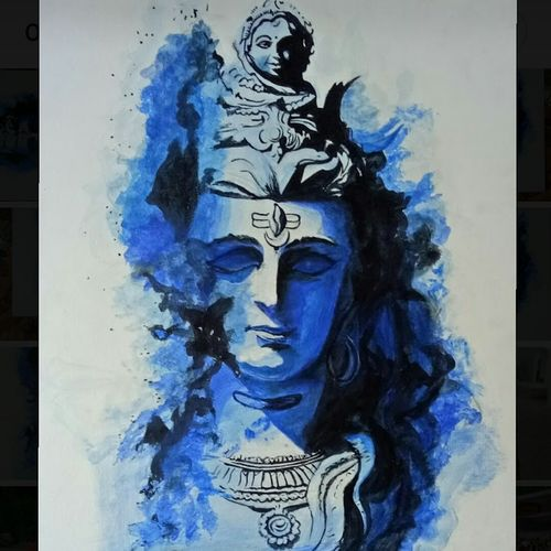 lord shiva, 20 x 26 inch, sonal  goswami,20x26inch,canvas,paintings,lord shiva paintings,paintings for living room,paintings for office,acrylic color,GAL01352023910