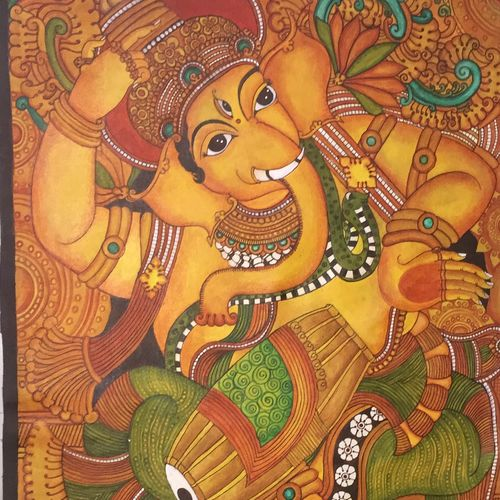 vigneshwara playing the drum, 23 x 40 inch, anjaly rijish menon,23x40inch,canvas,paintings,folk art paintings,ganesha paintings,contemporary paintings,kerala murals painting,paintings for living room,paintings for hotel,paintings for school,paintings for hospital,acrylic color,GAL0924523911,ganpati bappa morya,ganesh chaturthi,ganesh murti,elephant god,religious,lord ganesh,ganesha,om,hindu god,shiv parvati, putra,bhakti,blessings,aashirwad,pooja,puja,aarti,ekdant,vakratunda,lambodara,bhalchandra,gajanan,vinayak,prathamesh,vignesh,heramba,siddhivinayak,mahaganpati,omkar,mushak,mouse,ladoo,modak,shlok